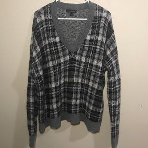 Banana Republic Wool Plaid V Neck Sweater